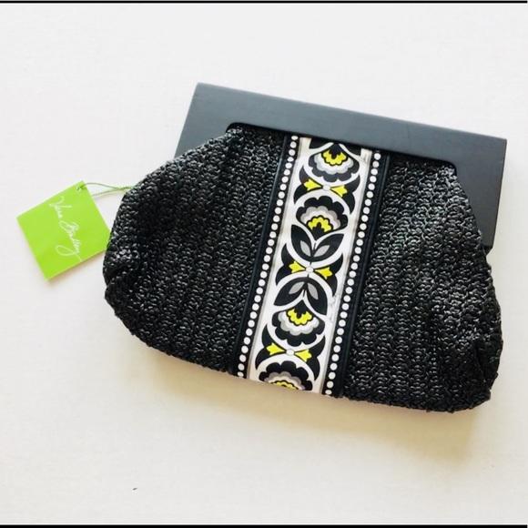 Vera Bradley Handbags - New! Vera Bradley Black Straw Clutch-Fanfare